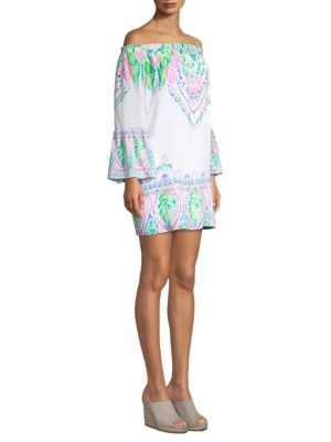 Lilly Pulitzer Nevie Off The Shoulder Dress Multi Coconut Coast Engineered 0XiDX