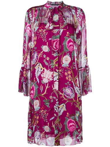 Alberta Ferretti Floral Print Shirt Dress Pink And Purple oD5R5B