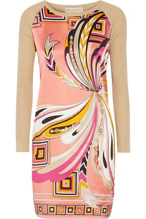 Emilio And Silk Wool Dress Stretch Blend Pucci Sand Cotton Paneled Mini UwpXxwEqr