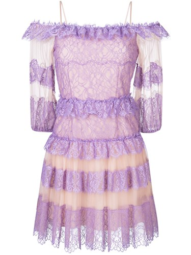 Ruffled Blumarine Purple Dress And Lace Pink drqvwAr4X