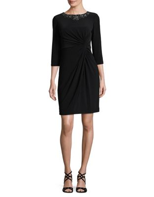 Alex Evenings Twist Front Sheath Dress Black OLiKCY