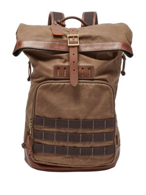 Fossil Defender Waxed Backpack Brown ipNABmY4M4
