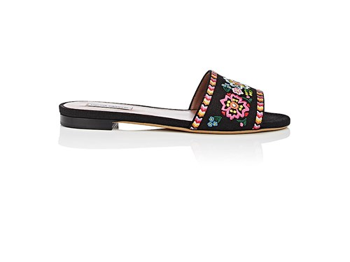 Tabitha Simmons Sprinkle Fest Embroidered Linen Slide Sandals Black atXWz8