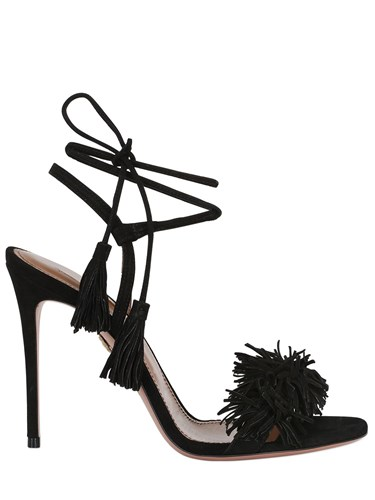 Aquazzura 105Mm Wild Things Fringed Suede Sandals KXAx2