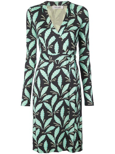 Diane von Furstenberg Dvf Leaf Print Wrap Dress Red k7O2qzdA