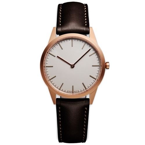 C35 Wristwatch Pvd Rose Gold And Brown Leather
