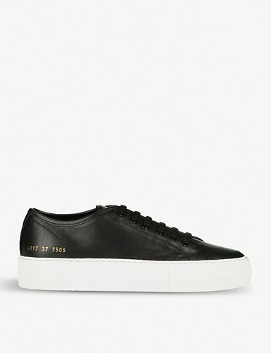 Common Projects Tournament Flatform Leather Trainers Black White PVVPtka