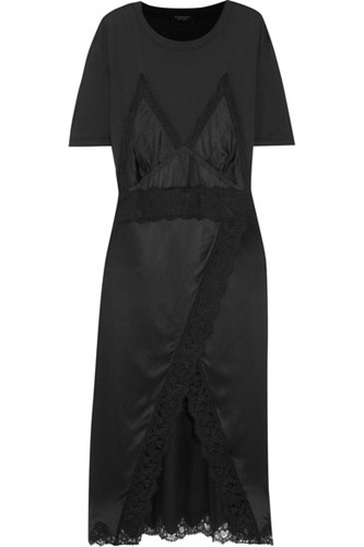 Burberry Lace Trimmed Silk Satin And Cotton Jersey Midi Dress Black dLfBL9hlRL