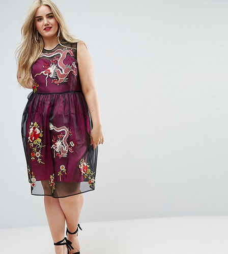 Asos Curve Premium Embroidered Mesh Midi Skater Dress With Contrast Lining Multi JIyPHr2t5