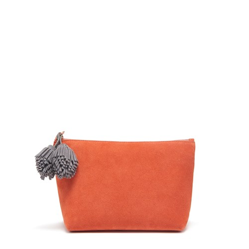 Thacker New York Pompom Pouch Terracotta And Ash Suede Red 8gJlKF8U6