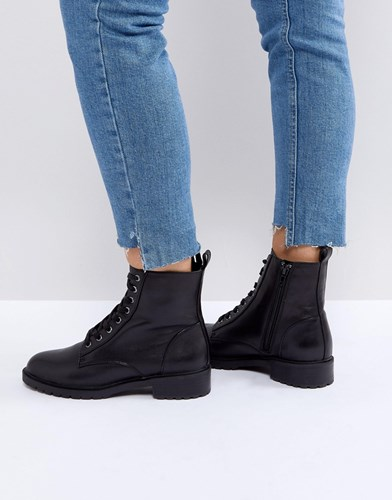 Steve Madden Officer Leather Flat Lace Up Ankle Boots Black VmeouI