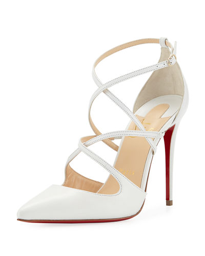 Christian Louboutin Cross Fliketa Strappy Red Sole Pump White PK7v1FI