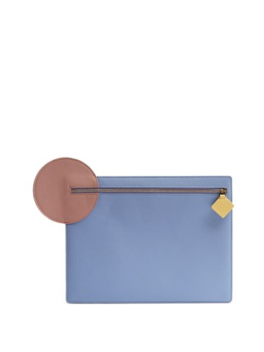 Roksanda Ilincic Alpin Pebbled Leather Clutch Blue Multi XaopdpkR9