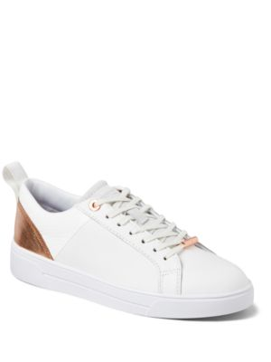 Ted Baker Kulie Leather Cup Sole Trainers White Rose Gold iZ56Kk
