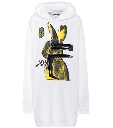 McQ Alexander White Dress Bunny Glitch by McQueen Cotton Hoodie qCFnaqHrW