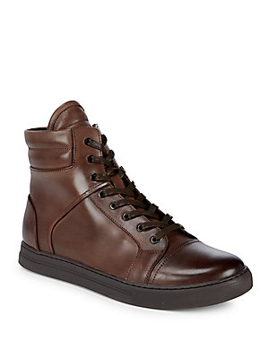 Kenneth Cole Round Toe Leather Ankle Boots Brown CDhk6eof
