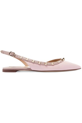 Valentino Garavani The Rockstud Patent Leather Point Toe Flats Antique Rose EkMG13w0Zy