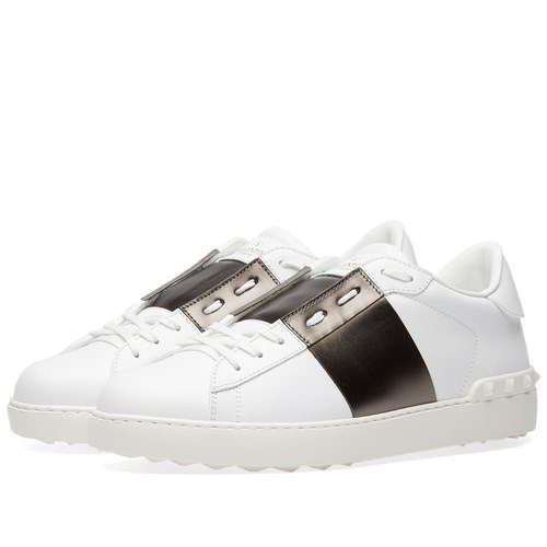 Valentino Open Low Top Metallic Sneaker White NVYZF