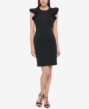Tommy Hilfiger Ruffle Sleeve Sheath Dress Black GOsxR1gsW