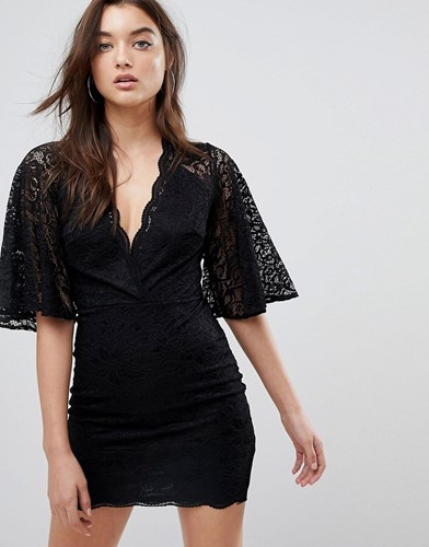 Asos Cape Plunge Lace Mini Dress Black YyKarnoaO