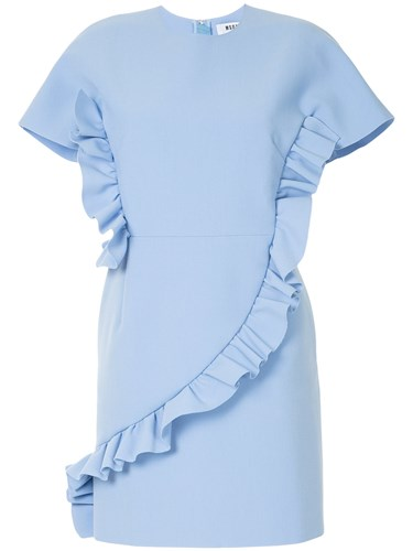 MSGM Ruffled Shift Dress Blue 9pp5Ms8