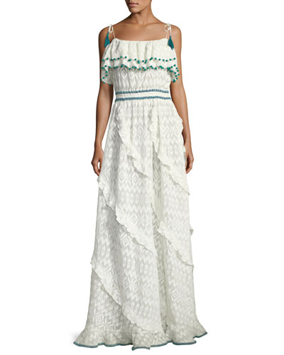 Talitha Collection Tonal Embroidered Asymmetric Ruffle Maxi Dress With Pompom Trim White I0BNp5GvB2
