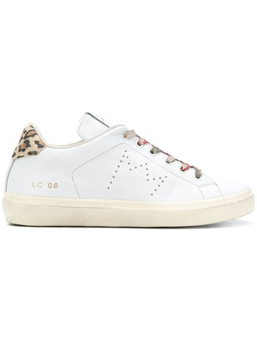 Leather Crown Leopard Print Detail Sneakers White AovjWh