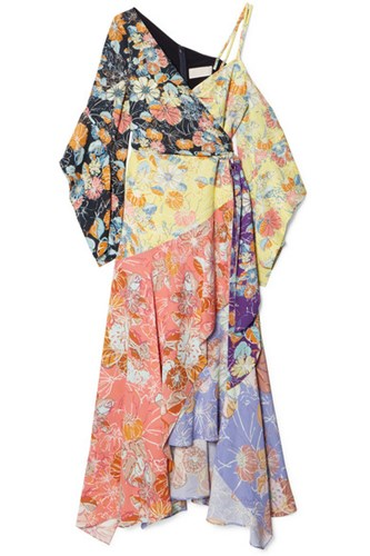 Peter Pilotto Cold Shoulder Wrap Effect Patchwork Printed Crepe Dress Pastel Yellow Gbp NDL7PwPmrE