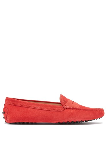 Gommino Suede Loafers Red