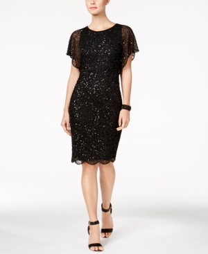 Adrianna Papell Petite Beaded Sequined Dress Black B6nXQfN