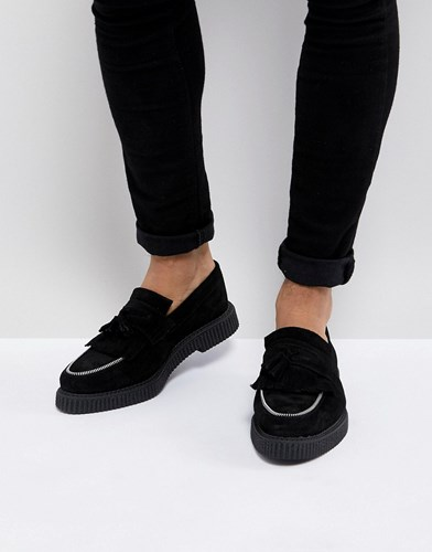 Black Loafers Suede In Asos With Black Creeper Detail Zip 6OZnqx8