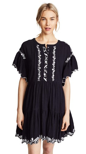 Free People Santiago Embroidered Mini Dress Black GpA9RsK7Zq