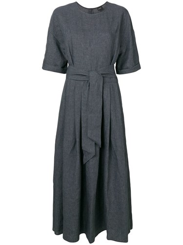 Belted Long Dress Grey