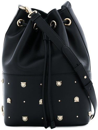 Salvatore Ferragamo Gancio Studded Bucket Bag Black VdFeox