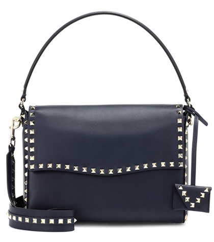Valentino Garavani Rockstud Leather Shoulder Bag Blue 6QL4XWsAlp