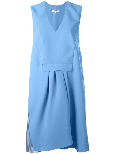 V Pleated Neck Carven Blue Dress 6YBHw4RPq