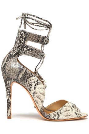 Schutz Lace Up Snake Effect Leather Sandals Animal Print HCYeOi