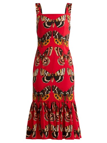 Dolce & Gabbana Butterfly Print Silk Blend Midi Dress Red Print NipGtZ99