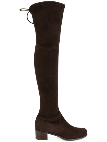 Weitzman Knee Tie Boots Stuart Over Rubber Suede Leather The Brown 6Fnqd