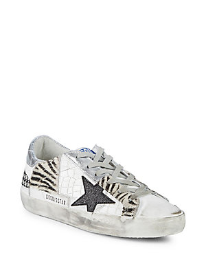 Golden Goose Calf Hair Trimmed Low Top Sneakers Patchwork sy2TsRk