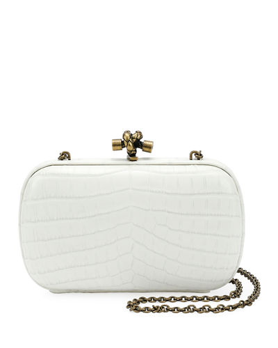 Bottega Veneta Chain Knot Crocodile Clutch Bag White cuAXOBp2l