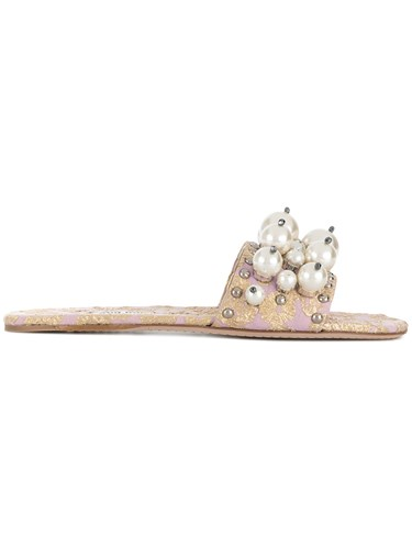 Miu Slides Embellished Pink And Purple Miu Jacquard zPgOZngx