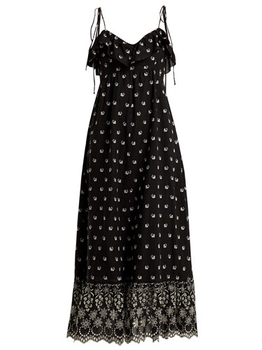 Moonbeams Floral Embroidered Dress Black White