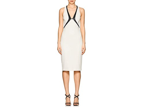 Narciso Rodriguez Sequin Embroidered Silk Blend Cocktail Dress White ajFWH