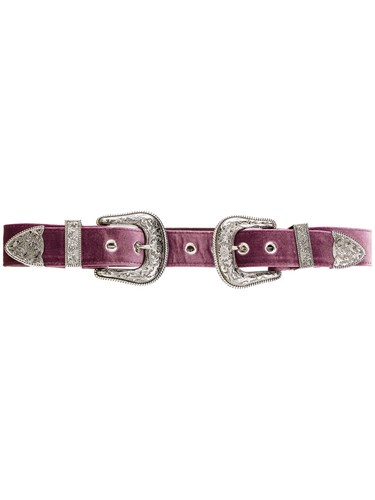 Double Buckle Women Velvet S Pink Purple