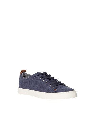White Stuff Washed Lace Up Trainer Blue RK2ZUT