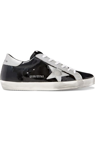 Golden Goose Deluxe Brand Superstar Distressed Metallic And Patent Leather Sneakers Black yNhyP6