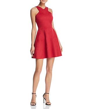And Suede Faux Aqua Dress Red 100 Exclusive Flare Fit FBxwRw4
