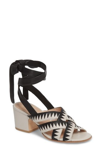 Pour La Victoire Anisa Ankle Wrap Sandal Black Ivory Leather YuVXL61
