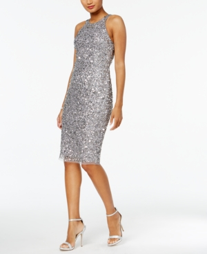 Papell Grey Sequined Silver Adrianna Dress Halter nfzwZ660q